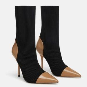 Zara Knit Contrast Booties